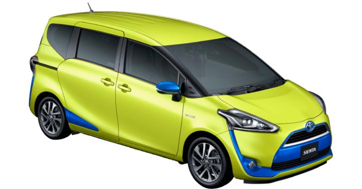 新型トヨタシエンタボディカラーエアーイエロー×アクセントカラー:ブルーメタリック