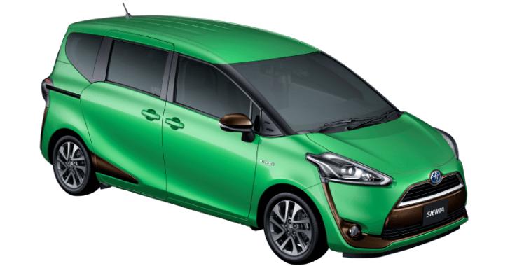 新型トヨタシエンタボディカラーグリーンマイカメタリック×アクセントカラー:ブラウンパール