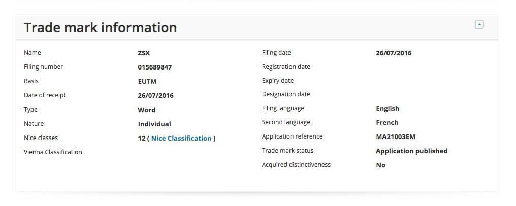 ホンダZSX商標登録データベース画像(トレードマーク情報)