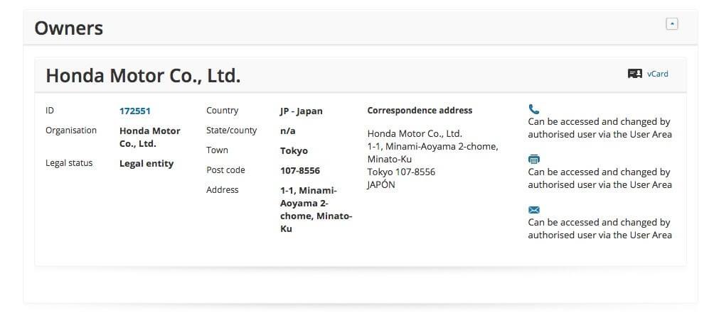ホンダZSX商標登録データベース画像(オーナー情報)